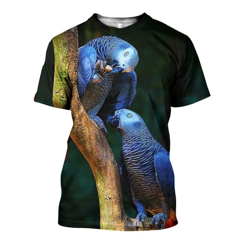 3D All Over Printed African Grey Parrot Shirts And Shorts DT011108