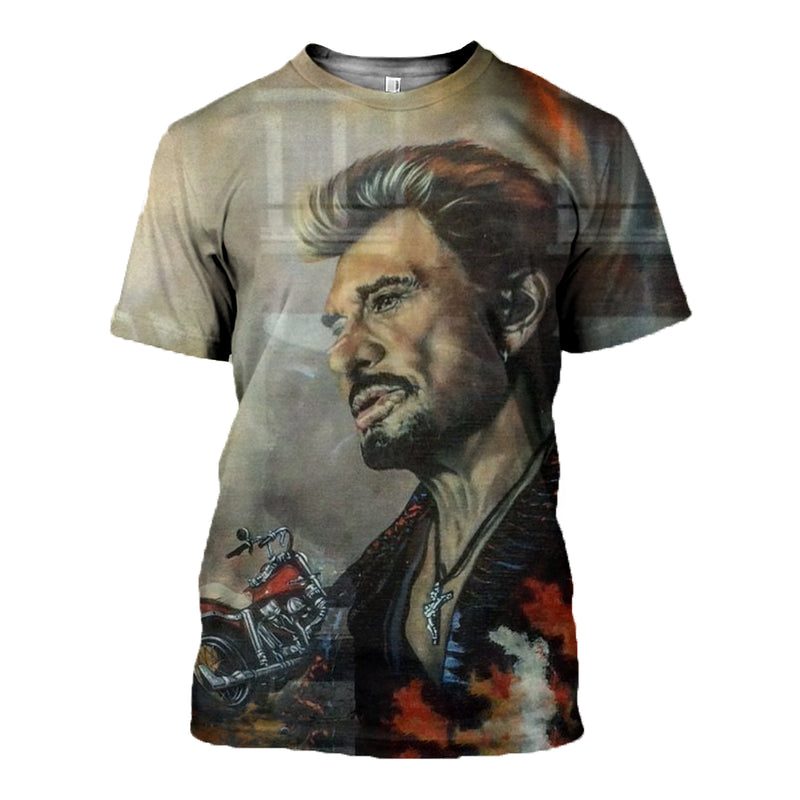 3D Printed Johnny Hallyday T-shirt Hoodie DT180603