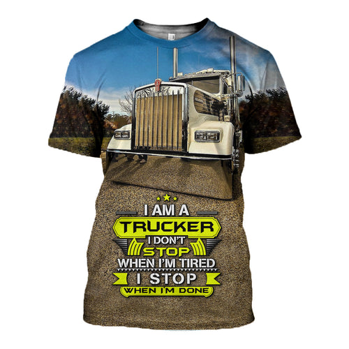 3D Printed Trucker T Shirt Long sleeve Hoodie DT260601