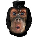 3D Printed Monkey T Shirt Long sleeve Hoodie DT240503