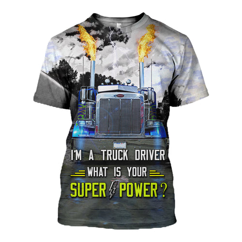 3D Printed Truck Driver T Shirt Long sleeve Hoodie HD210601