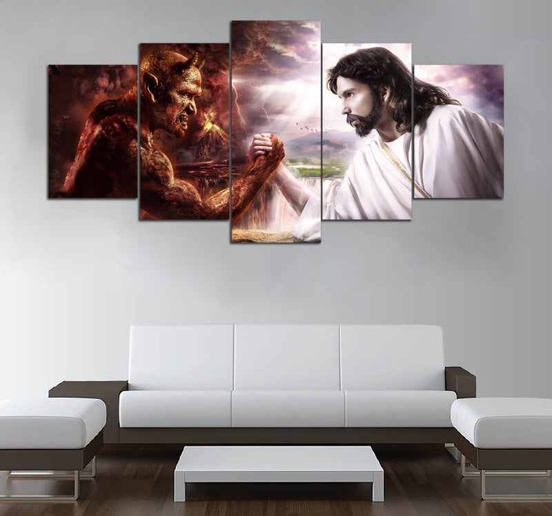5 Pieces Devil vs Jesus HD Printed Canvas Wall Art 2018 DTCV041102
