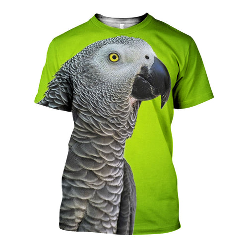 3D All Over Printed African Grey Parrot Shirts And Shorts DT191105