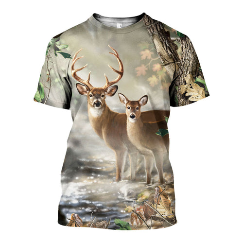 3D All Over Printed Deer Hunting Camo Shirts And Shorts DT171111