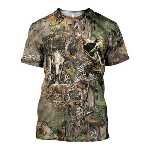 3D All Over Printed Deer Hunting Camo Shirts And Shorts DT251101