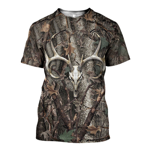 3D All Over Printed Deer Skull Hunting Camo Shirts And Shorts DT191204