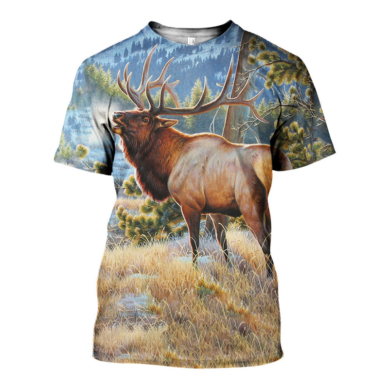 3D All Over Printed Elk Shirts And Shorts DT171105