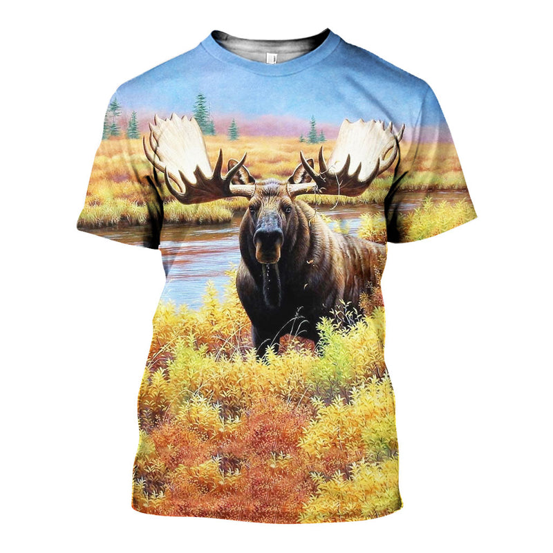 3D All Over Printed Moose Shirts And Shorts DT231108