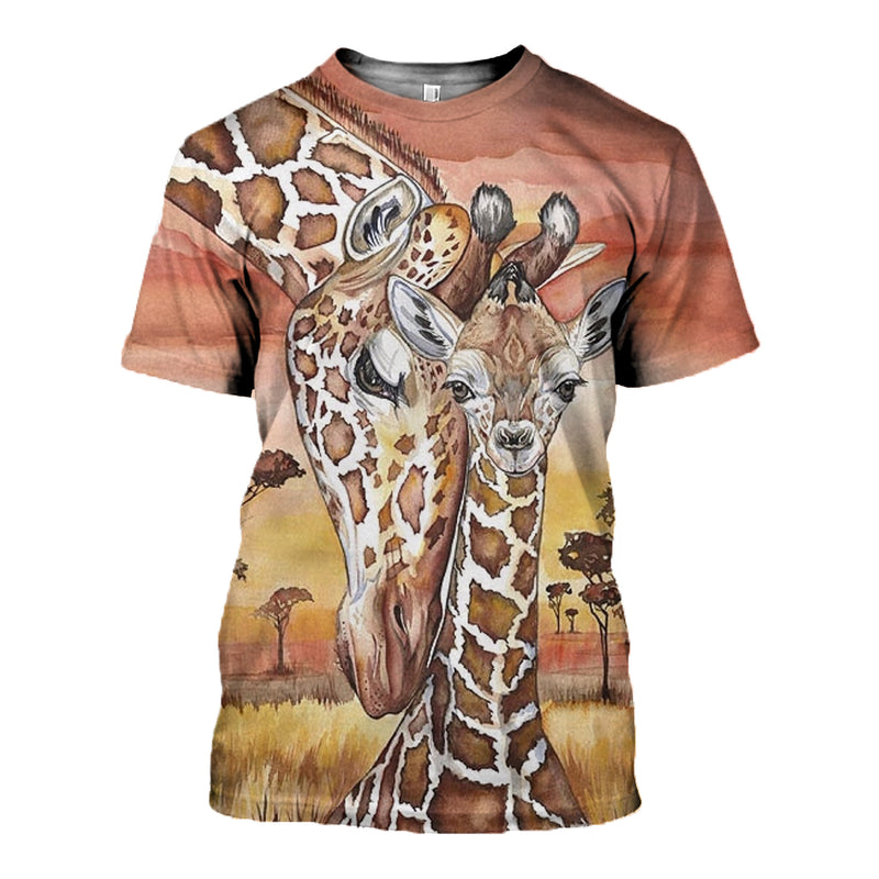 3D Printed Art Mom and Baby Giraffe Hoodie T-shirt DT080520