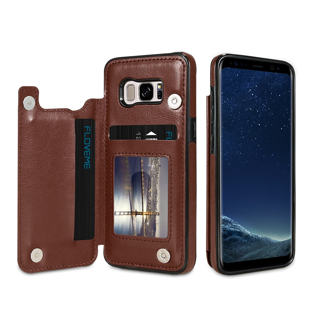 save off 246cb 329e3 Card Slot Case For Samsung Galaxy S9 S8 Plus Stander Holder Cases For  Samsung Galaxy S7 Edge Note 8 9 Leather Cover