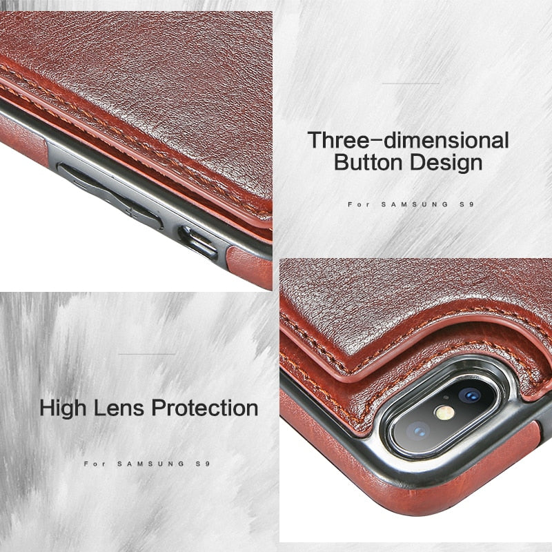 5d97ae884 ... Leather Case For iPhone X 6 6s 7 8 Plus XS Multi Card Holders Phone  Cases ...