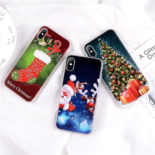Christmas Tree Santa Claus Phone Case For iPhone 8/ 8 Plus/ X