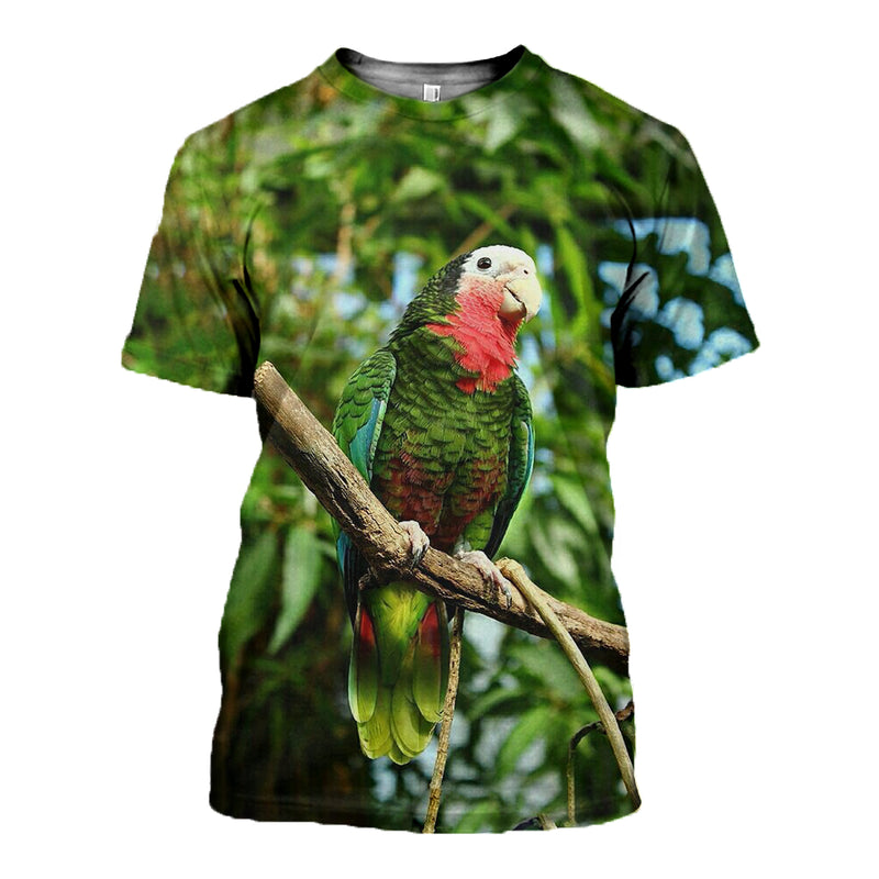 3D Printed Green Parrot Hoodie T-shirt DT280911