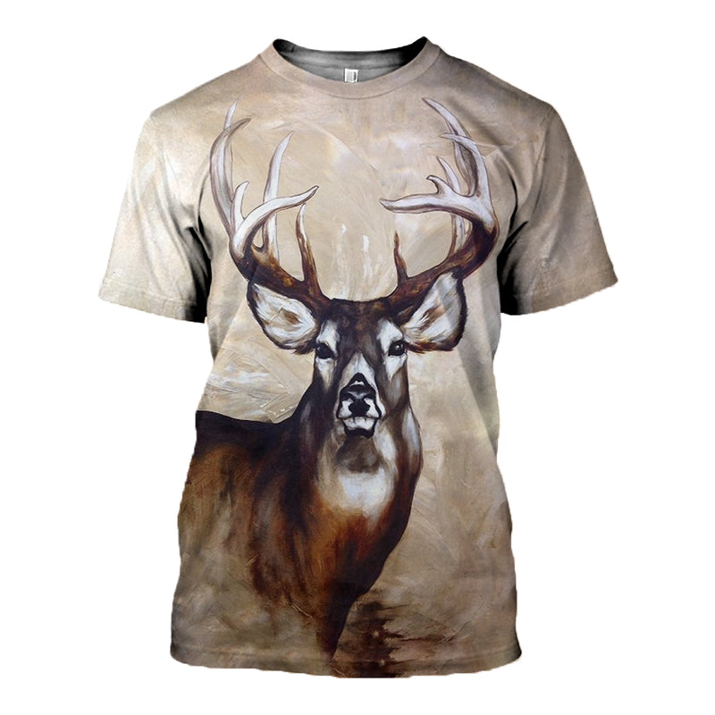 3D Printed Whitetail Deer Painting Hoodie T-shirt