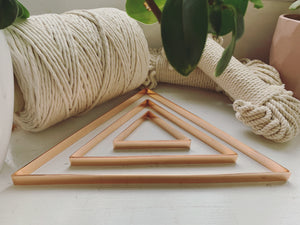 Set of 3 DIY macramé metallic wall frames - Triangle - Copper