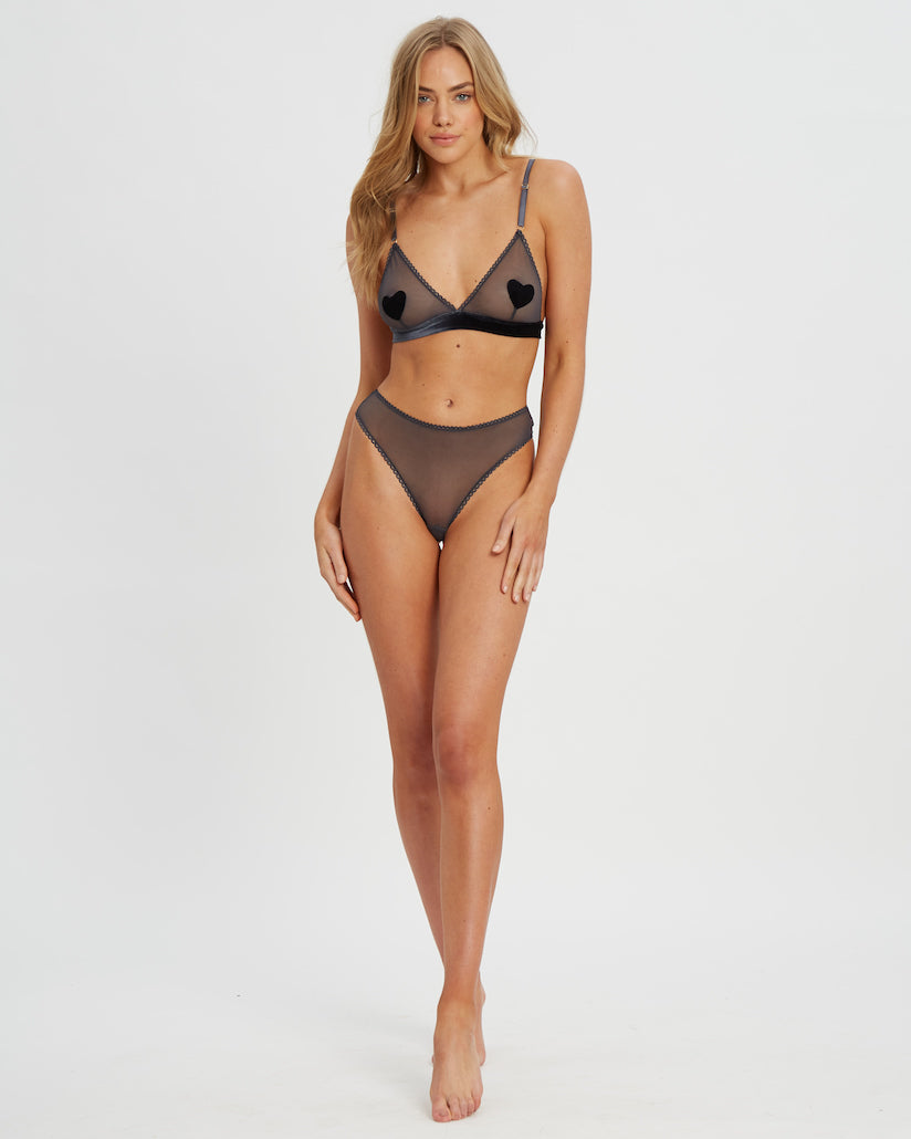 Aphrodite bralette and g-string set in gray