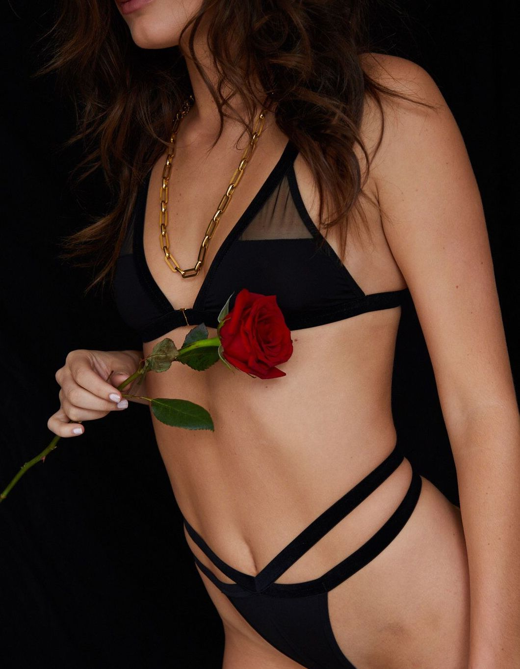 Altair bralette and midnight g-string set - in black