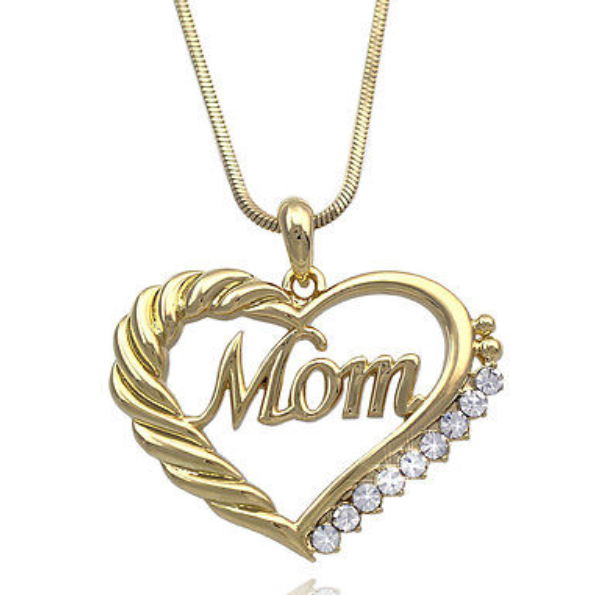 Heart MOM Necklace Mothers Day Birthday Gift for MOM Crystal GIFT BOX