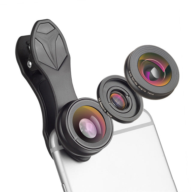 APEXEL 3 in 1 Clip Cell Phone Camera lenses