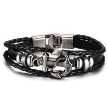 Anchor Bracelet Genuine Braided Leather
