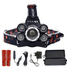15000 lumens rechargeable 5 Leds headlamp