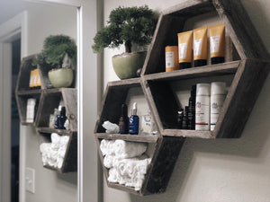 Set Of 2 Hexagon Shelves
