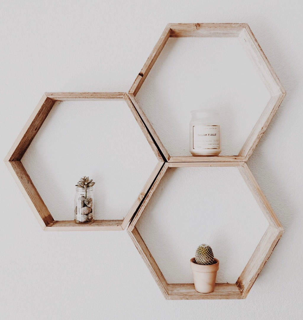 Set of 3 Wood Hexagon Honeycomb Geometric Shelves