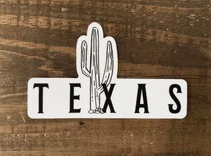 Texas Cactus Weatherproof Sticker