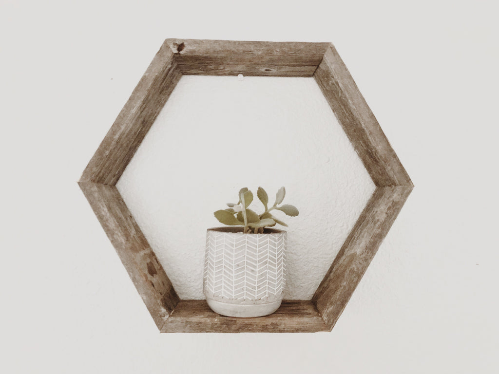 Hexagon Floating Wood Shelf