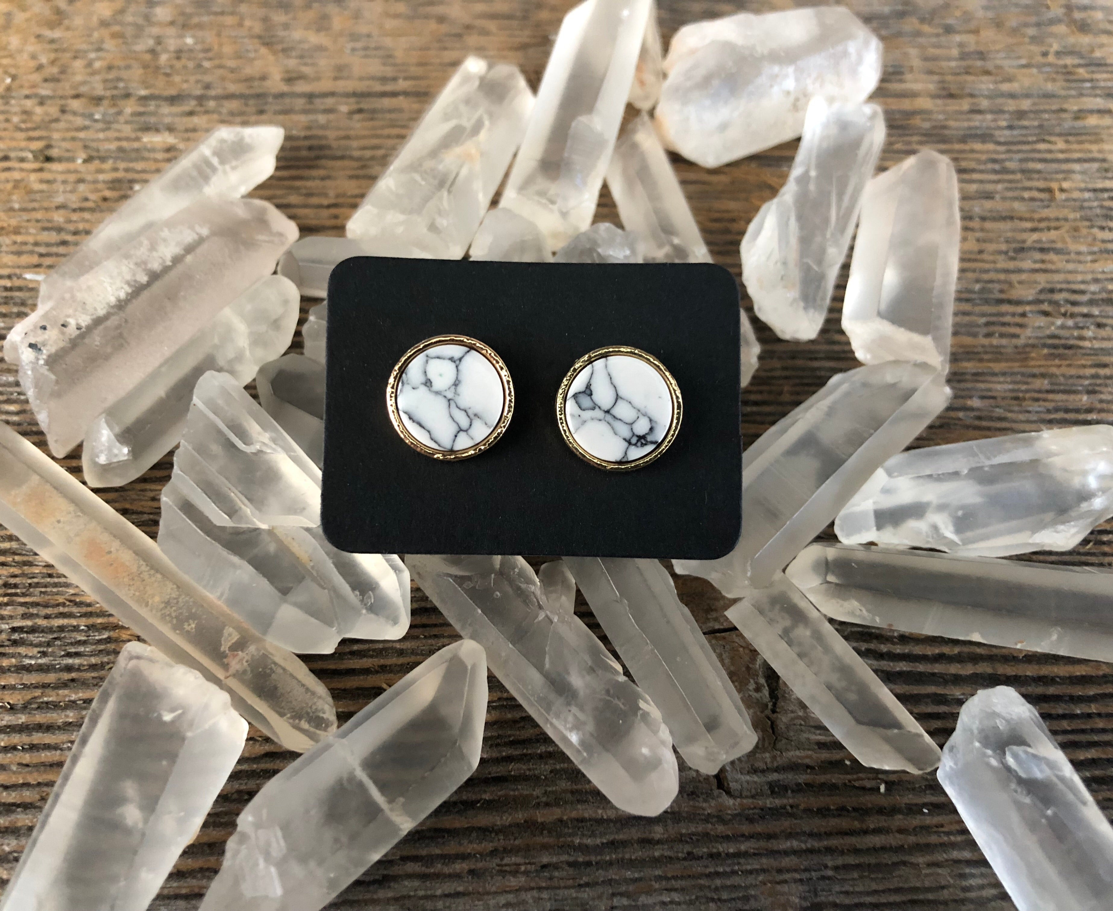 Round Marble Stud Earrings