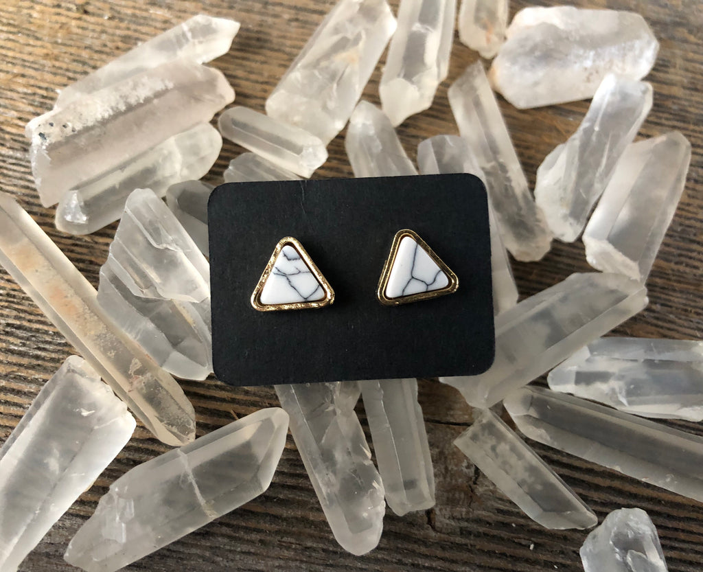 Triangle Marble Stud Earrings
