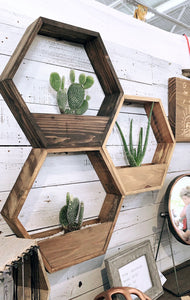 Set of 3 Gradient Wood Stained Hexagon Planters