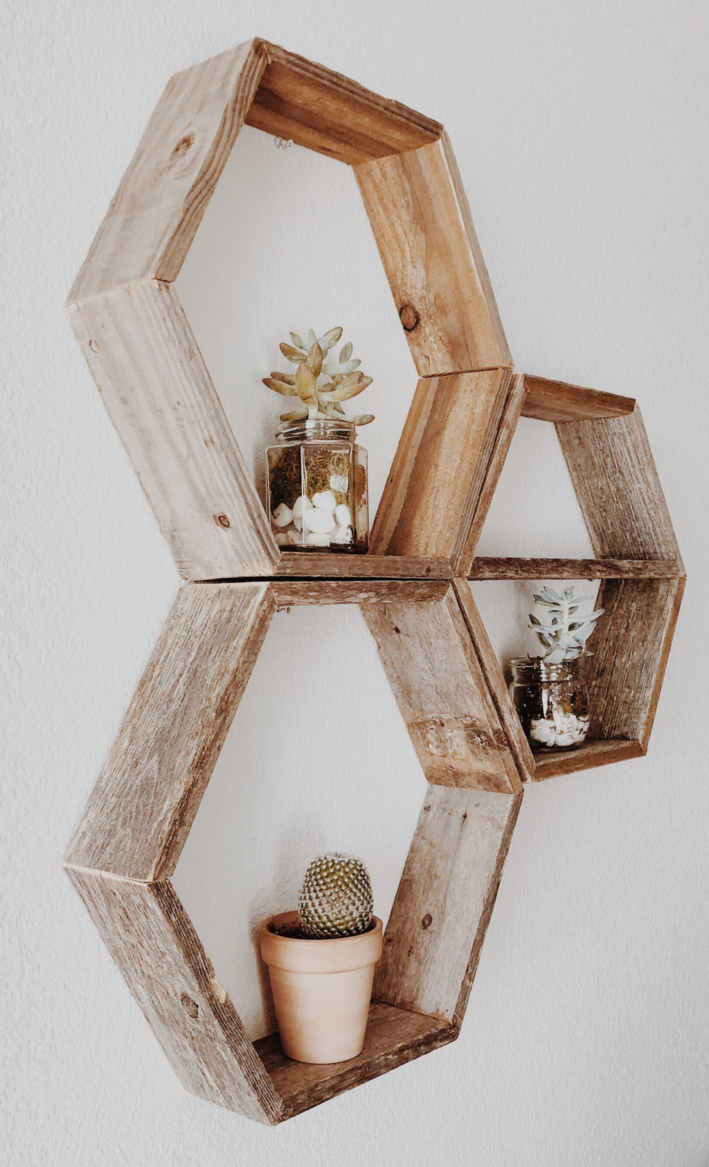 Set of 3 Hexagon Honeycomb Wood Floating Shelves
