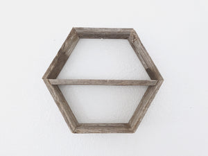 Hexagon Floating Wood Shelf With Added Shelf