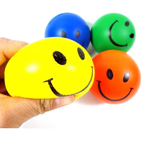 4PC Random Child Toy Mini Neon Lovely Smile Face Relaxable Outdoor Hand Wrist Exercise Stress Relief Soft Toy Balls Hot Sale