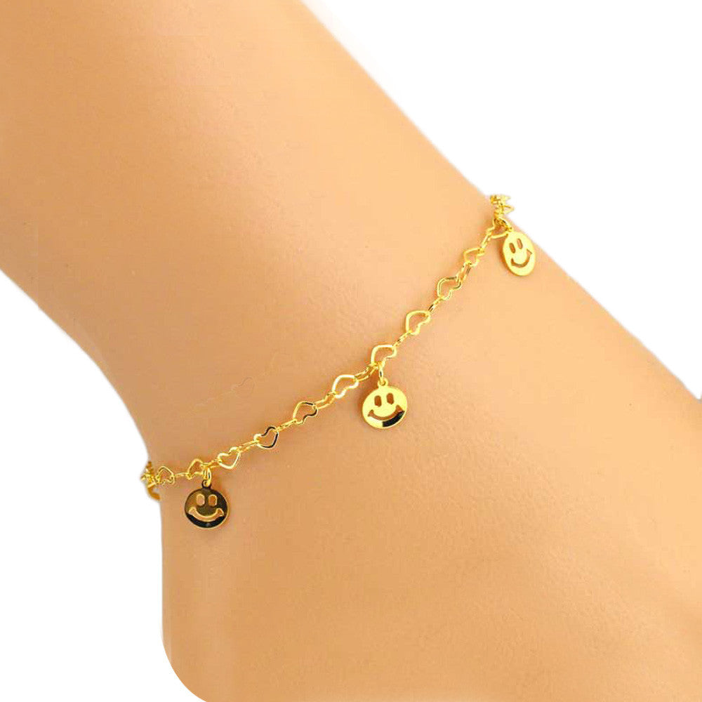 Smile Women Ankle Bracelet Barefoot Sandal Beach Foot Jewelry