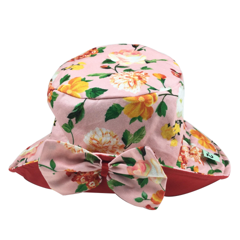 Floral Print Sun Hat with Red Lining