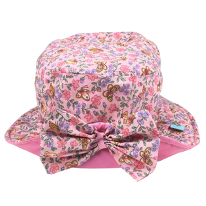 Pink Sun Hat with Flowers and Butterflies