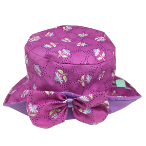 Pink Daisy Sun Hat with Mauve Lining