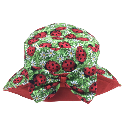 Lady Bug Print Kids Sun Hat