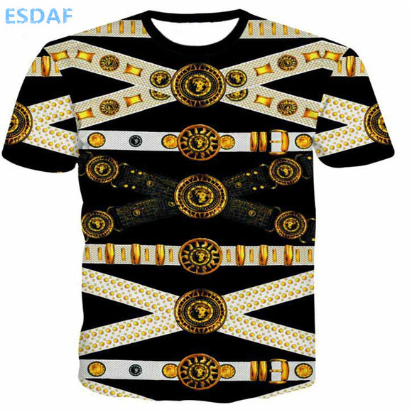 3D Gold flower printing T-shirt - The Trendy Phone