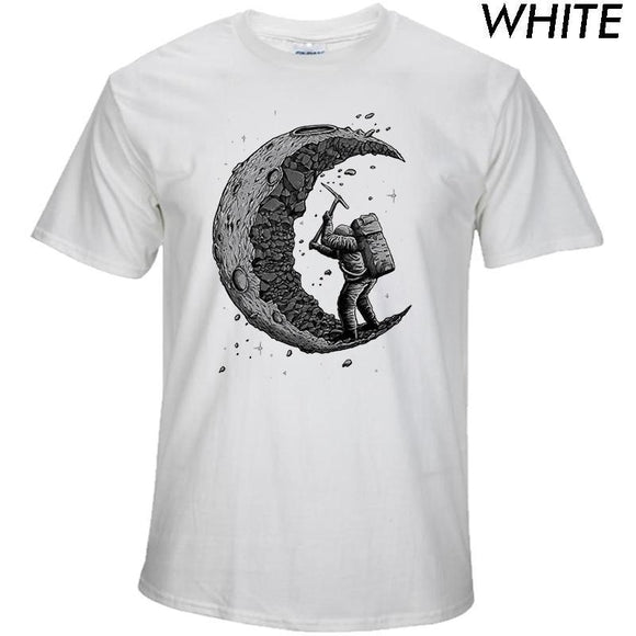100% cotton Digging the moon print T-Shirt - The Trendy Phone