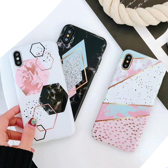 Candy Color Marble Phone Case For iPhone - The Trendy Phone