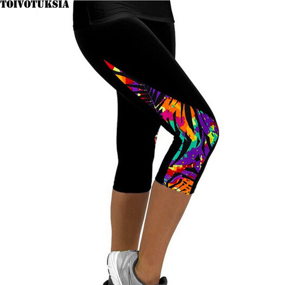 Capris Printed Black Leggings for Women - The Trendy Phone