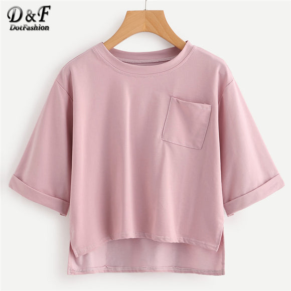 Pink Plain Summer Crop Top - The Trendy Phone