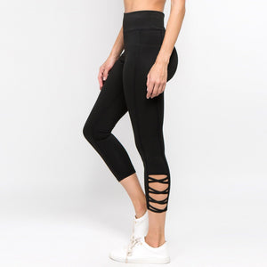 Black Criss Cross Ankle Athletic Leggings