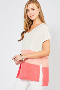 Coral Combo V-Neck Top