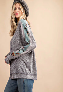 Grey Boho Chic Top