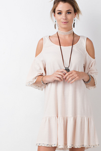 Oatmeal Cold Shoulder Babydoll Dress