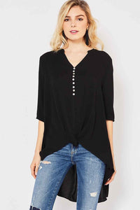Black Button Down Hi-Lo Top